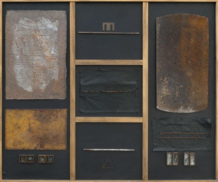 Nello spazio e nel tempo, 100x120, grafica di sperimentazione, ferro, vetroresina, su tavola, 2016
