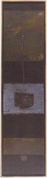 Oltre le forme, 2003, ferro corroso carta a mano su tavola, 141x37