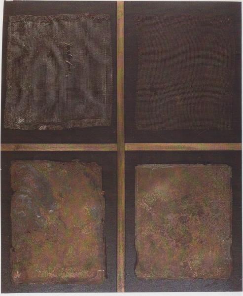 Simbiosi, 2006, ferro corroso su tavola, 100x120
