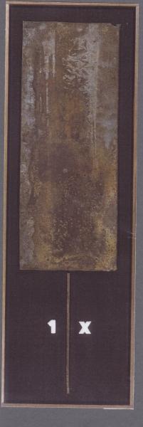 Stele, 1997, ferro corroso su tavola, 37x85