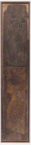 Stele, 1998, tecnica mista su ferro e legno, 35x100