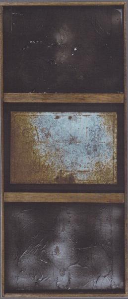 Trittico, 2001, ferro e vetroresina, 41x95