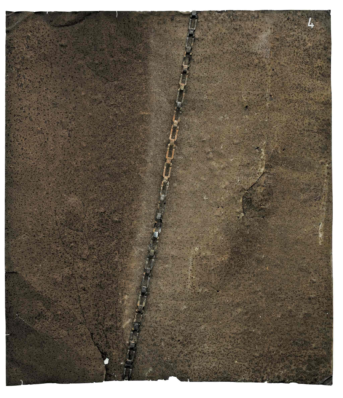 Fratture della materia, ferro combusto su tavola, 100x88, 2005
