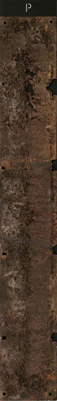 Corrosioni, ferro combusto su tavola, 140x20, 2006